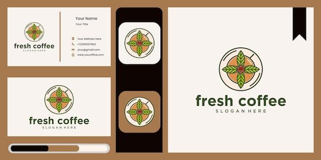 Natürliches kaffeelogo mit blättern und cup-logo-icon-design für café-restaurant natürliches café