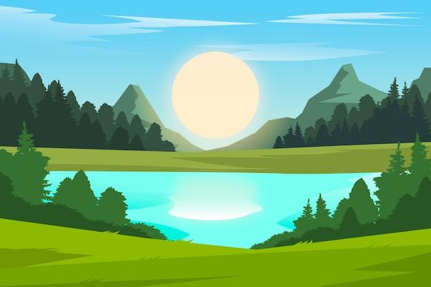 Natürliches landschaftshintergrunddesign