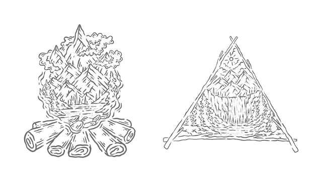 Natürliches linienkunstillustrationsdesign
