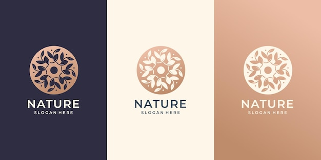 Natürliches logo abstrakte blätter kreis abgerundetes konzept bühnenbild.