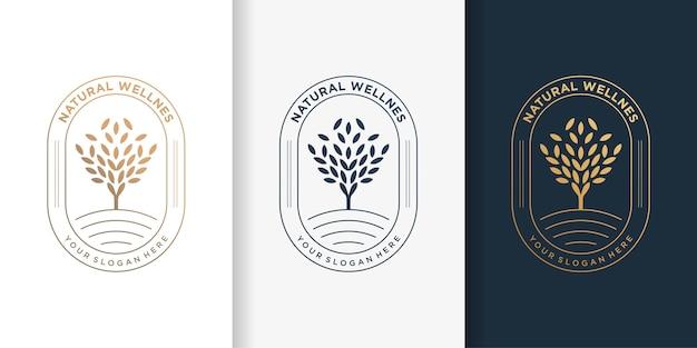Natürliches logo mit luxusgoldbaumbaumart und visitenkarten-entwurfsschablone, emblem, verlassen, luxus,