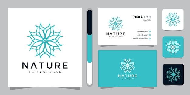 Natürliches logo mit strichgrafikart und visitenkartenentwurfsschablone