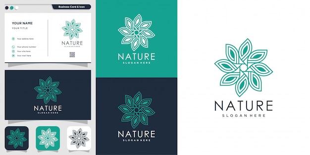Natürliches logo mit strichgrafikstil und visitenkartenentwurfsschablone, frisch, strichzeichnungen, blume, blatt, abstrakt,