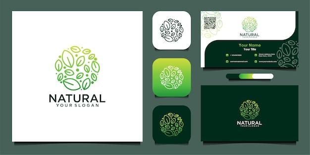 Natürliches logodesign mit grünen blättern und visitenkarte