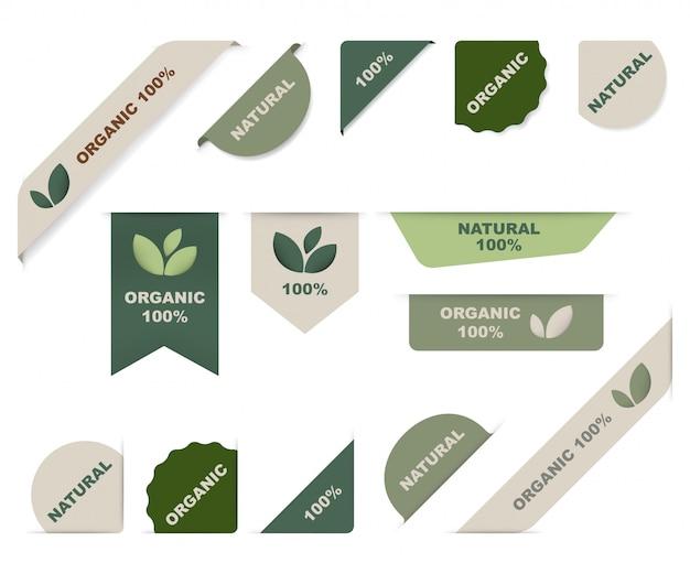 Natürliches markenetikett und grünes organisches band.
