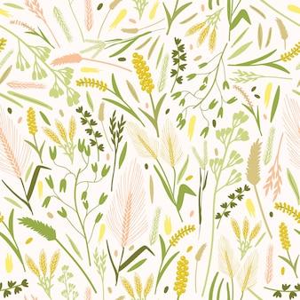 Natürliches muster mit herrlich blühenden blumen und ohren oder ähren von getreidepflanzen