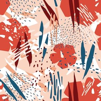 Natürliches nahtloses muster mit blühenden blumen und abstrakten flecken oder flecken