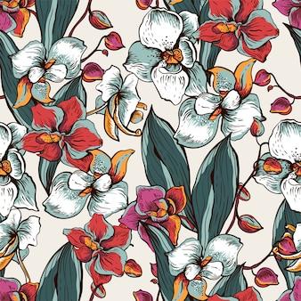 Natürliches nahtloses muster mit blühender orchidee. exotische blumen
