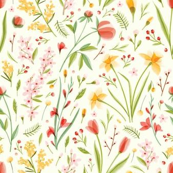Natürliches nahtloses muster mit durchscheinenden blühenden frühlingsgartenblumen