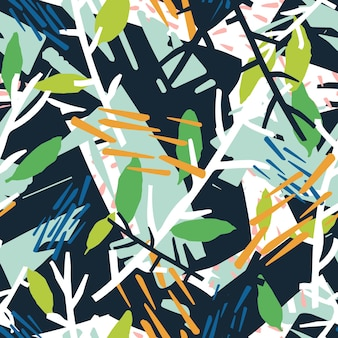 Natürliches nahtloses muster mit pflanzenzweigen und chaotischen abstrakten flecken. hintergrund mit laub und farbspuren. moderne vektorgrafik im coolen kreativen stil für packpapier, textildruck.
