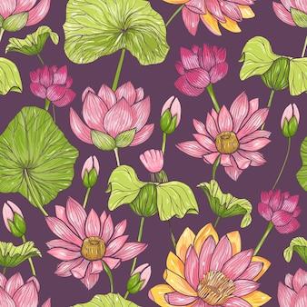 Natürliches nahtloses muster mit schönem rosa blühendem lotus