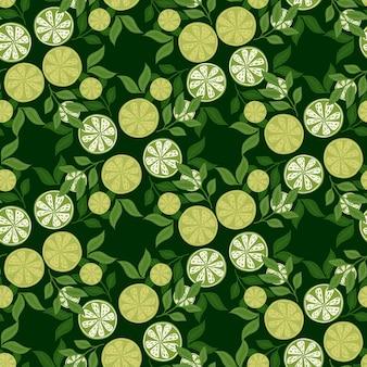 Natürliches nahtloses muster mit sommerzeitlinien-scheibendruck. grüne farben. hinterlässt elemente. blumenmuster. grafikdesign für packpapier und stofftexturen. vektor-illustration.
