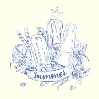 Natürliches öko-lebensmitteleis des sommers