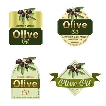 Natürliches olivenöl-frucht-blatt-emblem-aufkleber