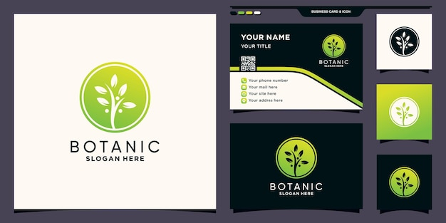 Natürliches organisches logo mit negativem raumkreiskonzept und visitenkartendesign premium-vektor