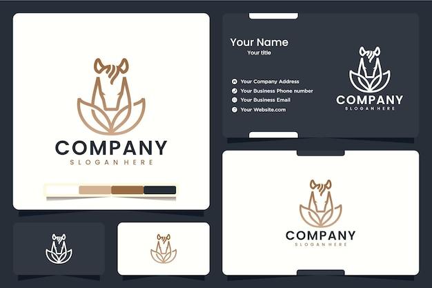 Natürliches pferd, tierblätter, logo-design-inspiration