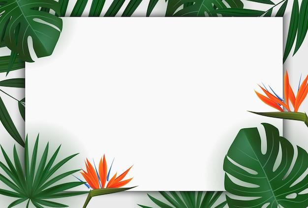 Natürliches realistisches grünes palmblatt mit strelitzia-blume tropisch