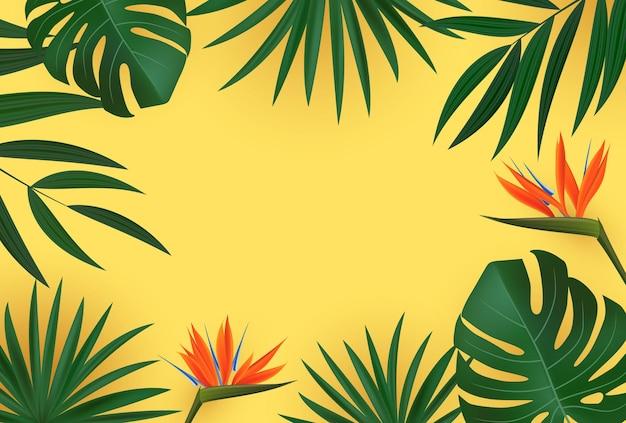 Natürliches realistisches grünes palmblatt mit tropischem hintergrund der strelitzia-blume.