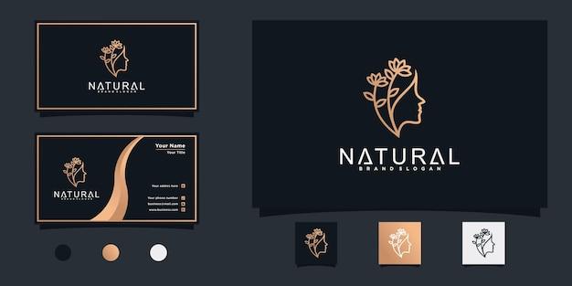 Natürliches schönheitsfrauenlogodesign mit kombiniertem blatt- und gesichtskonzept für schönheitssalon premium vekto