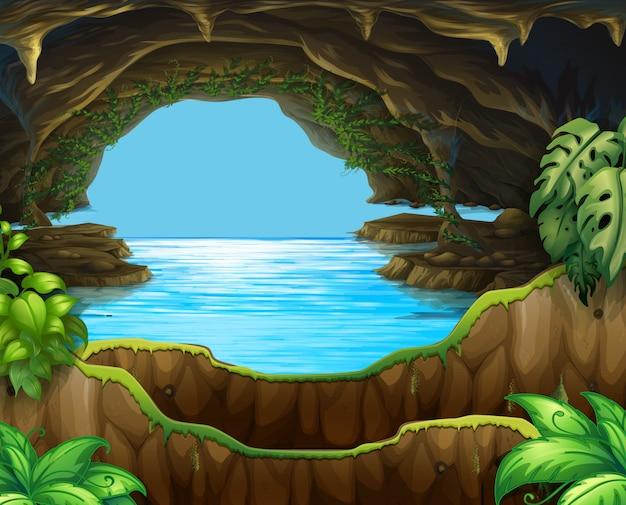 Natürliches wasser in der höhle