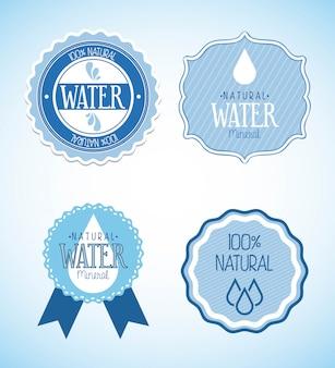 Natürliches wasser über blauer hintergrundvektorillustration