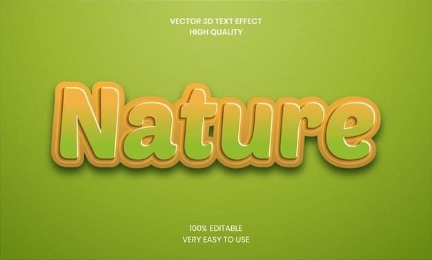 Natur 3d bearbeitbarer texteffekt premium-vektor