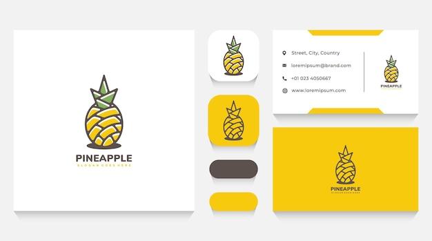 Natur-ananas-logo-vorlage und visitenkarte