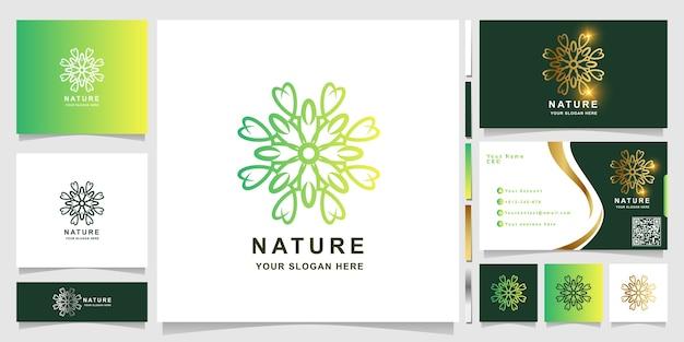 Natur-, blumen-, boutique- oder verzierungslogoschablone mit visitenkartenentwurf. kann spa-, salon-, beauty- oder boutique-logo-design verwendet werden.