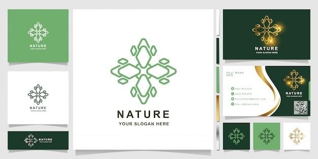 Natur-, blumen-, boutique- oder verzierungslogoschablone mit visitenkartenentwurf.