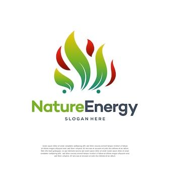 Natur-energie-logo-design-konzept-vektor-vorlage blatt mit feuerflammen-tröpfchenform