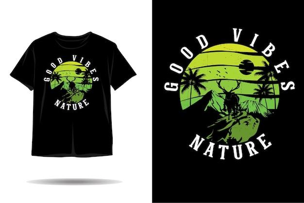 Natur gute stimmung silhouette t-shirt design