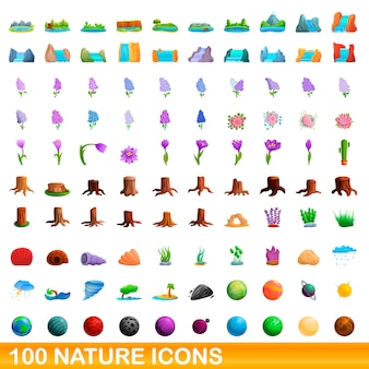 Natur icons set, cartoon-stil