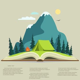 Natur im geöffneten buch. campinggrafiken, outdoor-reiseillustration