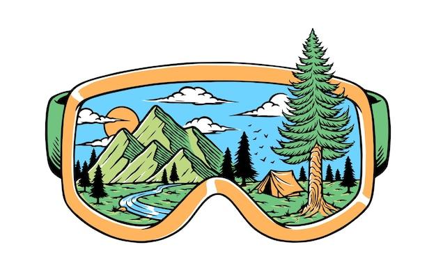 Natur in der schutzbrillenillustration