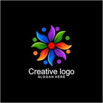 Natur lotus buntes logo
