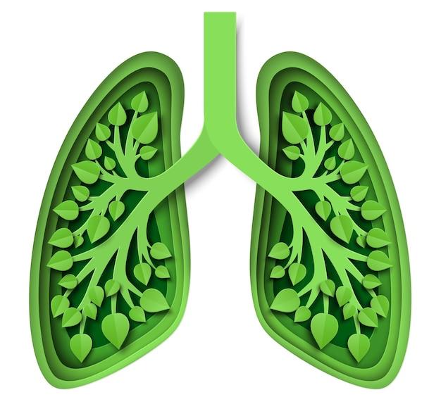 Natur lunge mit blättern vektor-illustration im papierkunststil grüne lunge des planeten erde retten umwelt ...
