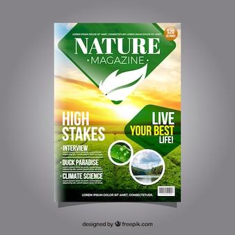 Natur-magazin-cover-vorlage mit foto