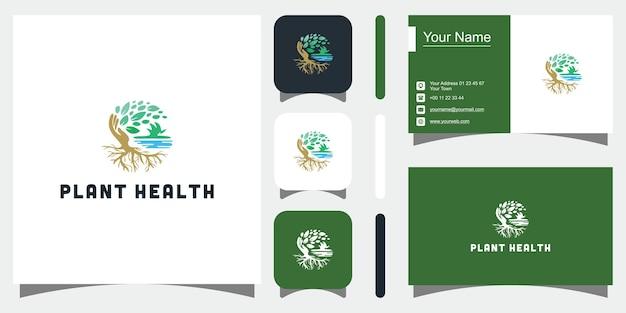 Natur minimalistisch einfache und elegante wachstumsdesign-vorlagelogo-designvisitenkarte