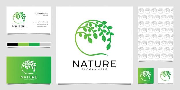 Natur mit kreisbaumlogodesign und visitenkarte