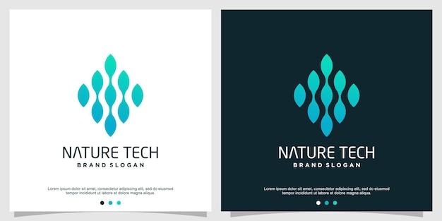 Natur technologie logo design premium-vektor