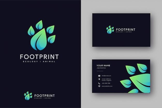 Natur tier fußabdruck logo und visitenkarte