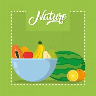 Natur trägt karikaturvektor-illustrationsgrafikdesign früchte