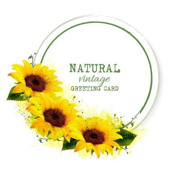 Natur-vintage-grußkarte mit gelben sonnenblumen. vektor.