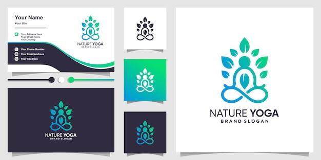 Natur yoga logo vorlage mit kreativem linienkunstkonzept und visitenkartendesign premium-vektor