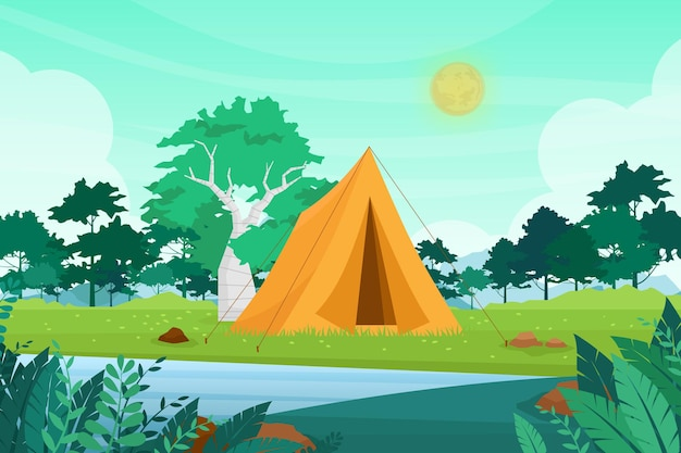 Naturabenteuercampingillustration im freien. karikatur flaches touristenlager mit picknickplatz und zelt zwischen wald, berglandschaft