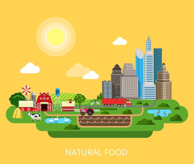 Natural food farm landwirtschaftsprodukte stadtversorgungsprozess 3d flaches stilkonzept