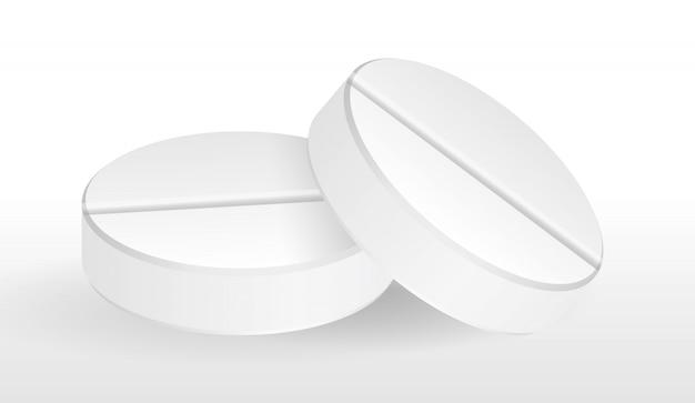 Naturalistische runde weiße tablette. grippemedizin, impfstoff gegen krankheiten. illustration