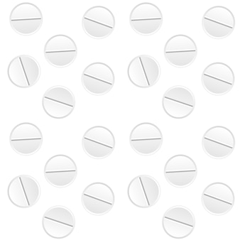 Naturalistische weiße tabletten. heilmittel gegen krankheiten. impfstoff in pille. nahtloses muster. illustration