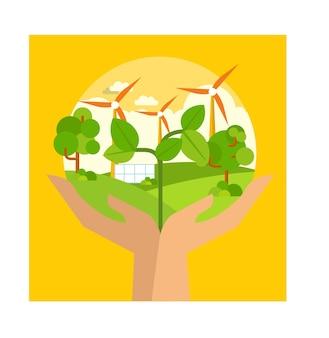 Naturatmosphäre und saubere energie in der erde