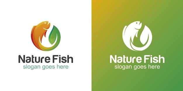 Naturblattfischverlauf und flache logos für angeln, fischer, restaurant-meeresfrüchte-logo-design